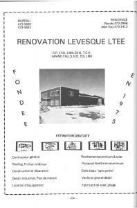 Annonce Rénovation Levesque Ad