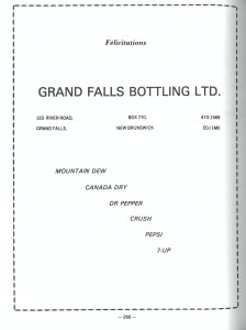 Annonce Grand Falls Bottling Ad